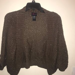 Torrid size one brown bolero with gold shimmer